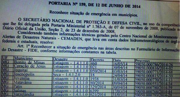 publicação diário oficial cidades em situação de emergência